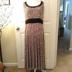 PERCEPTIONS NY brown empire waist cheeta dress.